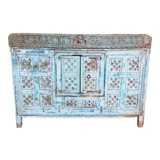 Antique Carved Painted Damchiya Indian Wedding Dowry Hope Chest C1900 For Sale