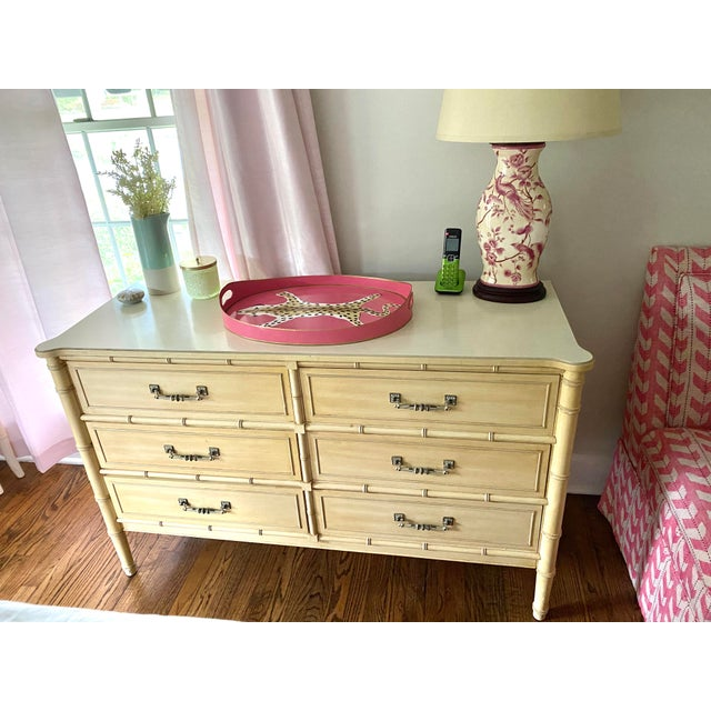 """Hollywood Regency Henry Link """"Bali Hai"""" Dresser & Mirror Set For Sale - Image 3 of 13"""