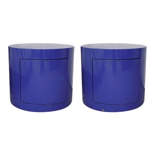 1980s Modernist Drum-Shaped Nightstands — A Pair