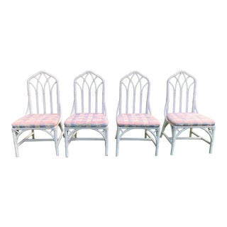 Henry Link Cathedral Rattan Chippendale Chairs - Set of 4 For Sale