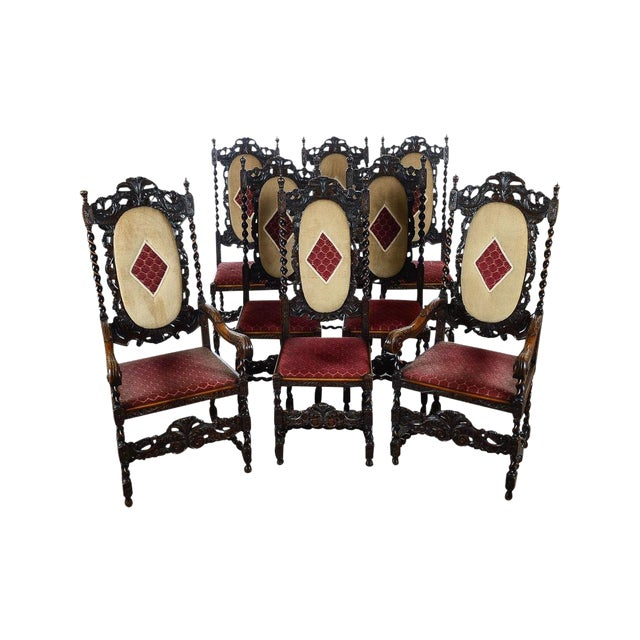 English Renaissance Dining Chairs - Set of 12 - Image 1 of 11