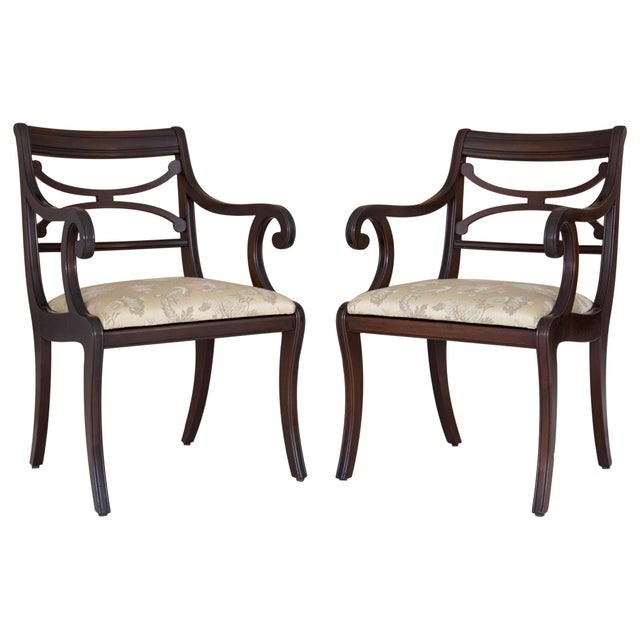 Regency Scrolled Armchairs - A Pair - Image 6 of 8