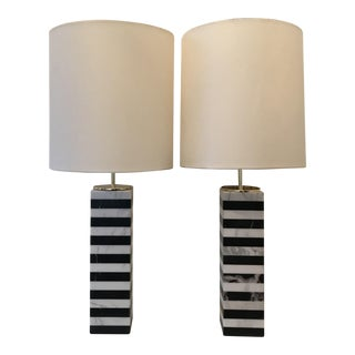 Arteriors Black & White Marble Table Lamps - A Pair