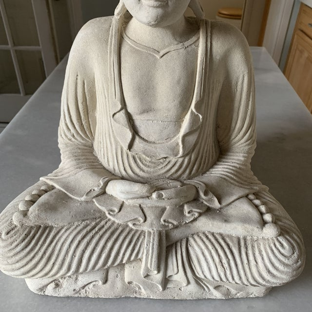 2010s Large Stone and Plaster Cast Buddha For Sale - Image 5 of 13