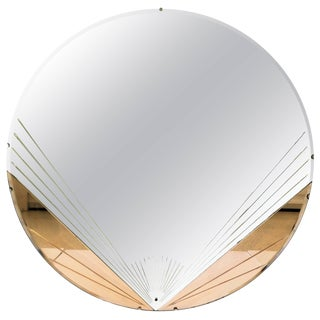 Art Deco Pink or Rose Round Wall Glass Mirror, Ca. 1930s For Sale