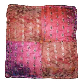Square Multi Color Pink Tufted Moroccan Silk Floor Cushion Saree Print For Sale