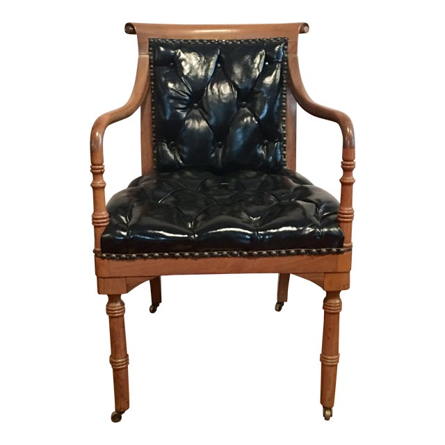 **Final Price** Vintage Tufted Black Leather Arm Chair For Sale