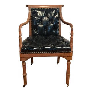 Vintage Tufted Black Leather Arm Chair