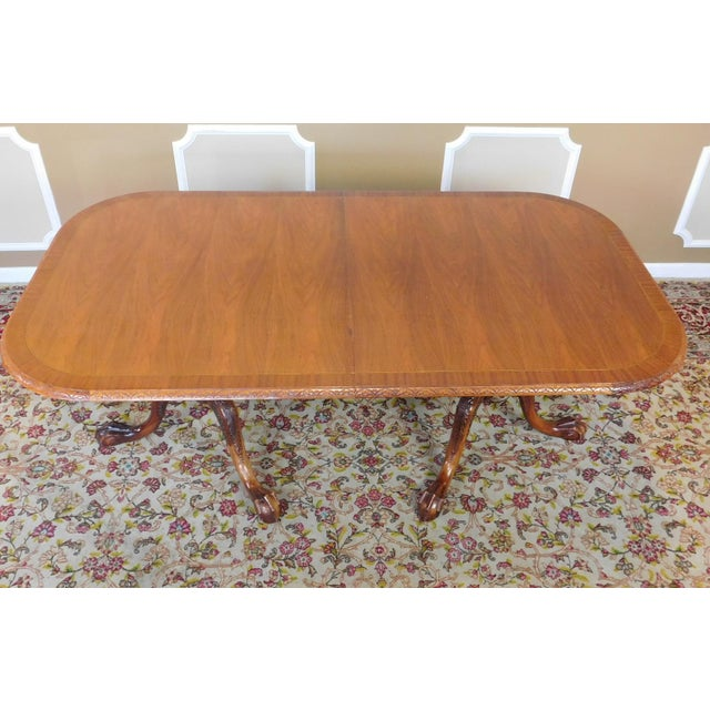 Chippendale Mahogany Banded Dining Room Table - Image 6 of 9