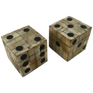 Pair of Maitland-Smith Tessellated Camel Bone Dice Boxes For Sale
