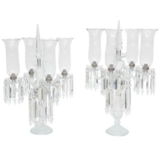 French Regency Monumental Cut-Crystal Girandoles - a Pair For Sale