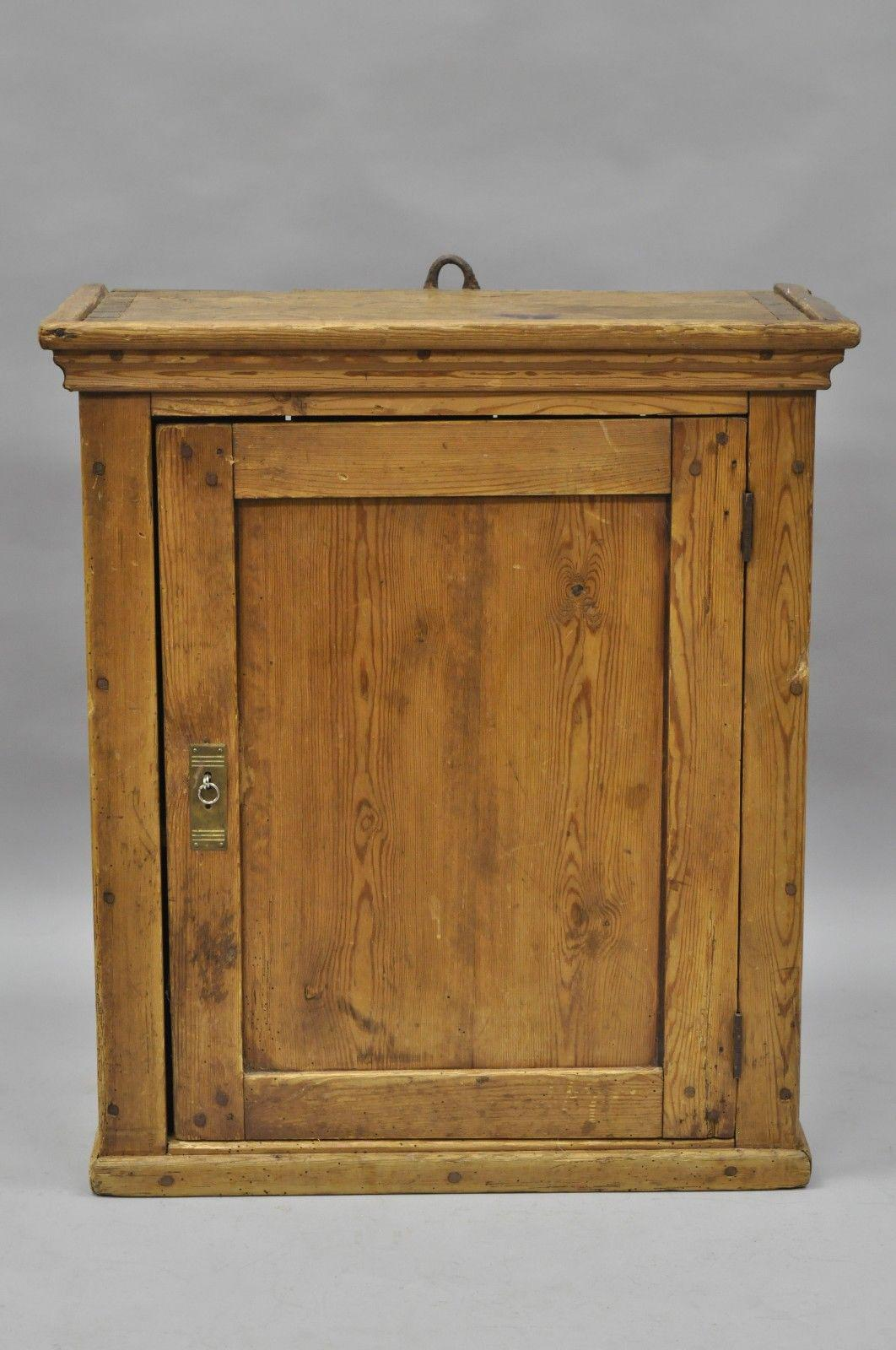 Item: Antique Primitive / Rustic Pine Wood Large Wall Hanging Cabinet  Details: Solid Wood