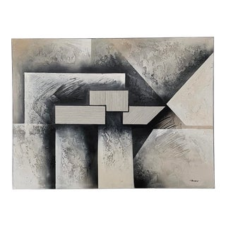 Vintage Contemporary Abstract Oil on Canvas Painting For Sale