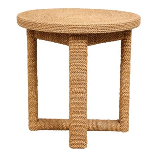 Jute Round Side Table For Sale