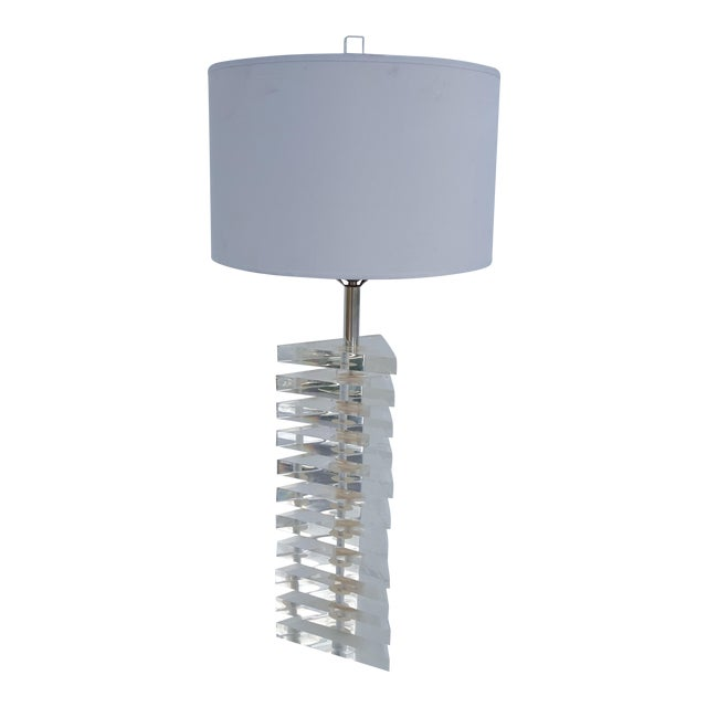 George Bullio Triangular Stacked Lucite Table Lamp For Sale