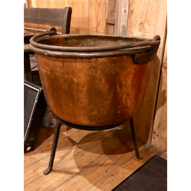 Antique Copper Apple Butter Iron Handle Kettle For Sale In Boston - Image 6 of 6