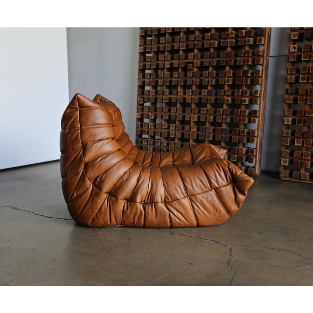 """Michel Ducaroy for Ligne Roset """"Togo"""" Leather Lounge Chairs - a Pair For Sale - Image 11 of 13"""