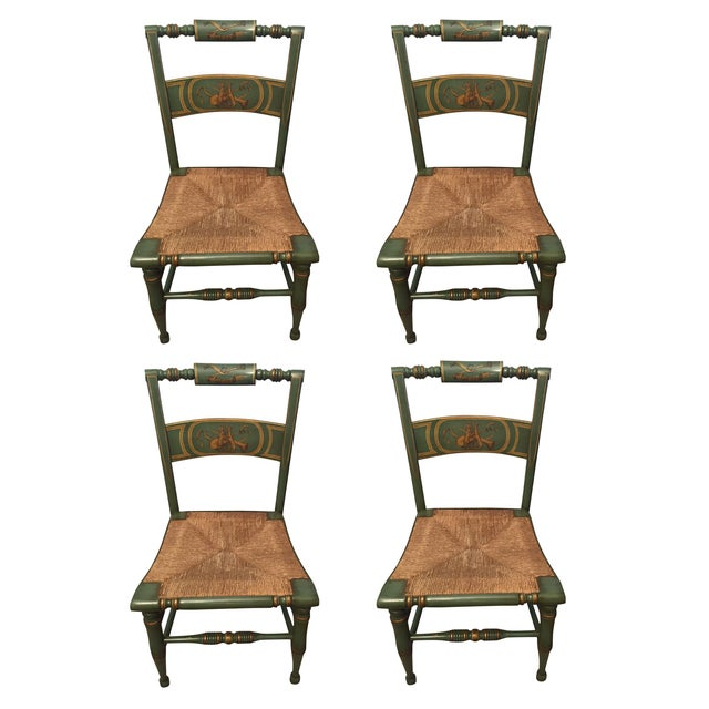 Hitchcock Style Painted Rush Seat Chairs- Set of 4 For Sale