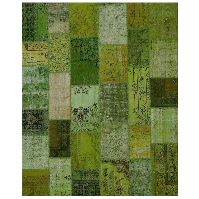 1950s Vintage Turkish Patchwork Overdyed Rug 7'3 X 9' For Sale - Image 5 of 5