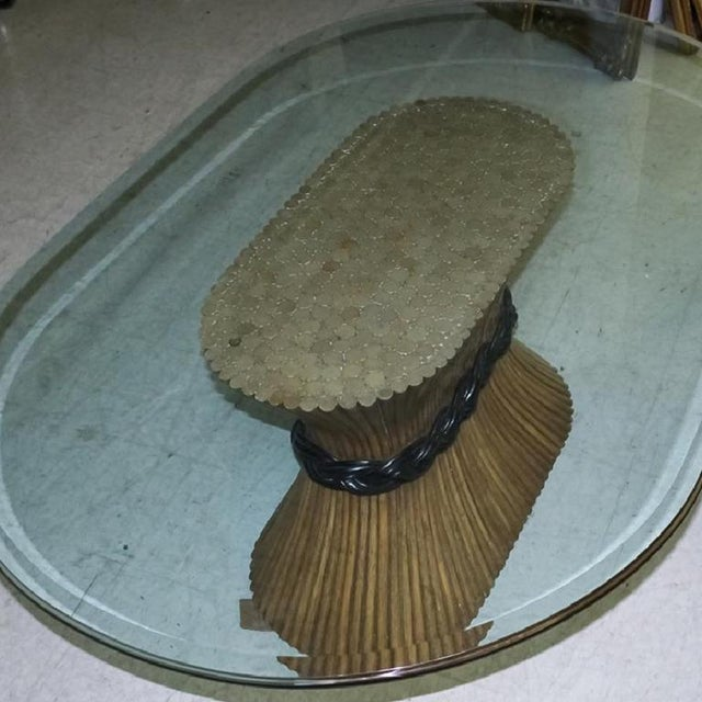 Large McGuire Rattan Trompe L' Oeil Tole Pedestal Dining Table or Center Table With Oval Glass Top 1950's For Sale - Image 6 of 10