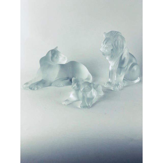 Lalique Lalique Crystal Vintage Lion Family Figurines - Bamara, Simba, and Tambwee Lion Cubs - Set of 3 For Sale - Image 4 of 4