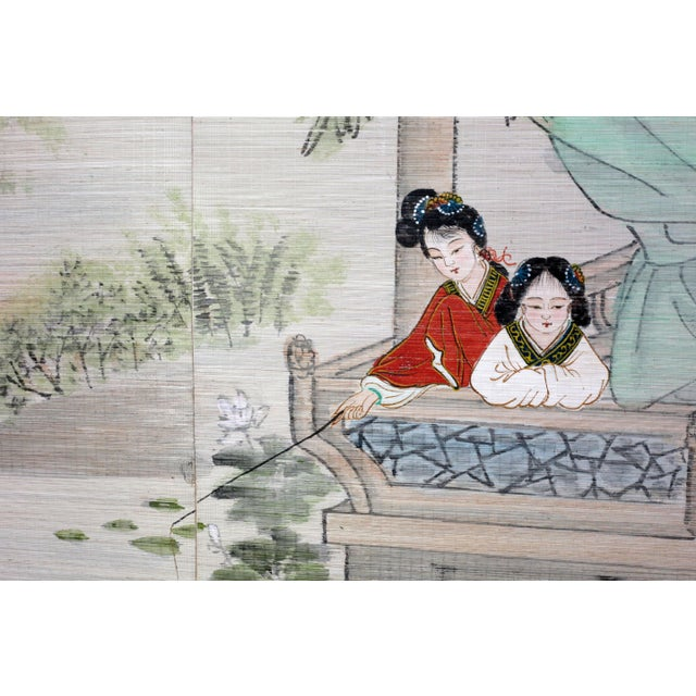 Bamboo Large Painting of Asian Ladies in a Pagoda and Lake Scene For Sale - Image 7 of 13