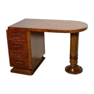 French Art Deco Four-Drawer Pedestal Desk in Ribbon Mahogany and Burl Wood For Sale