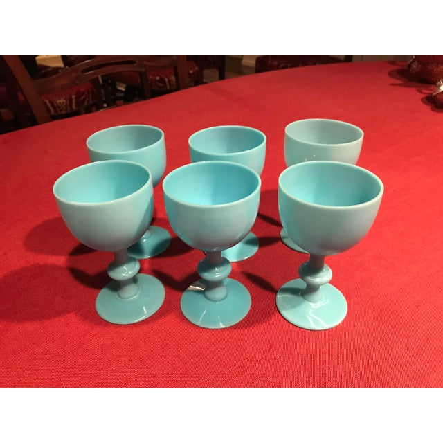 1900s 1900s Portieux Vallerysthal French Blue Opaline Glassware - Set of 6 For Sale - Image 5 of 5