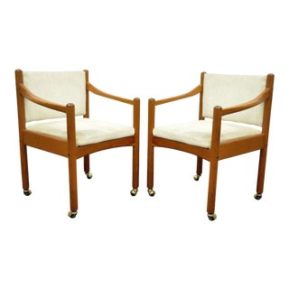 Pair of Vintage Mid Century Modern Dixie Teak Danish Style Dining Arm Chairs For Sale