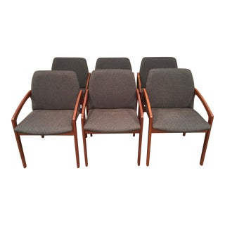 1960s Vintage Kai Kristiansen Paper Knife Teak Dining Chairs- Set 6 For Sale