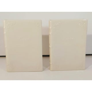 Vintage White Ceramic Book Bookends Paris Royal Preview