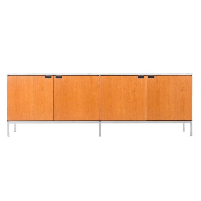 Florence Knoll White Oak Credenza With Carrara Marble Top For Sale - Image 11 of 11
