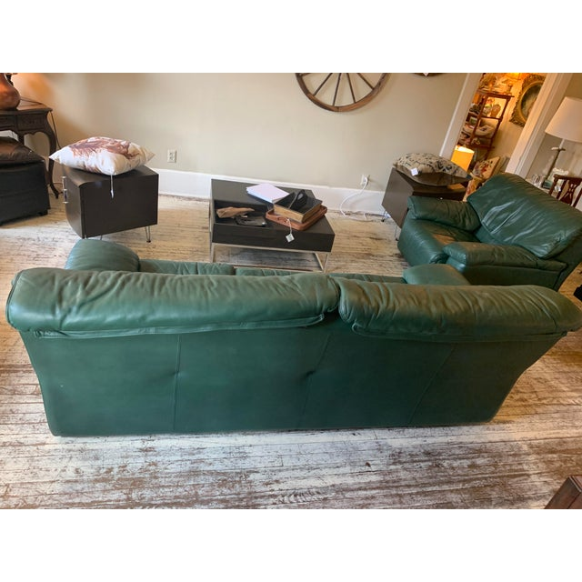 Contemporary Roche Bobois Green Leather Sofa For Sale - Image 3 of 4
