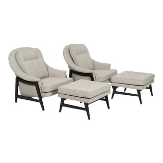 Edward Wormley Janus Collection Lounge Chairs and Ottomans for Dunbar - 4 Pieces For Sale