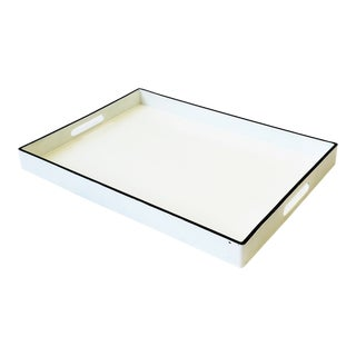 White and Black Lacquer Serving Tray For Sale