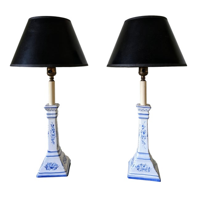 A Pair- Portugal Ceramic Blue and White Buffet Table Lamps For Sale