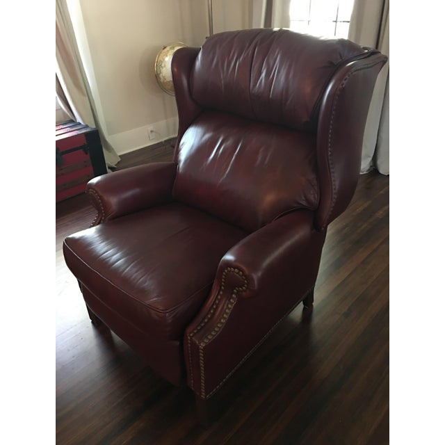 Hancock & Moore Addison Bustle Back Ball & Claw Recliner in Red Leather - Image 5 of 11