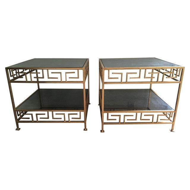Worlds Away Greek Key Side Tables - A Pair - Image 1 of 3