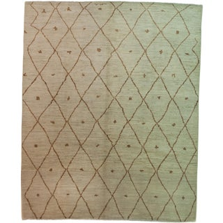 "Moroccan Hand Knotted Area Rug - 7'10"" X 9'8"" For Sale"