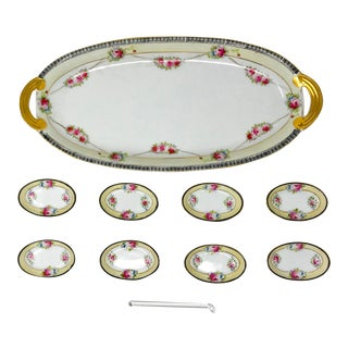Vintage Noritake Serving Platter & Condiment/Dip Dishes - 10 Pc. Set For Sale