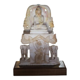 Soapstone Seated Buddha on Throne With Twisted Hair Angel and Elephants For Sale