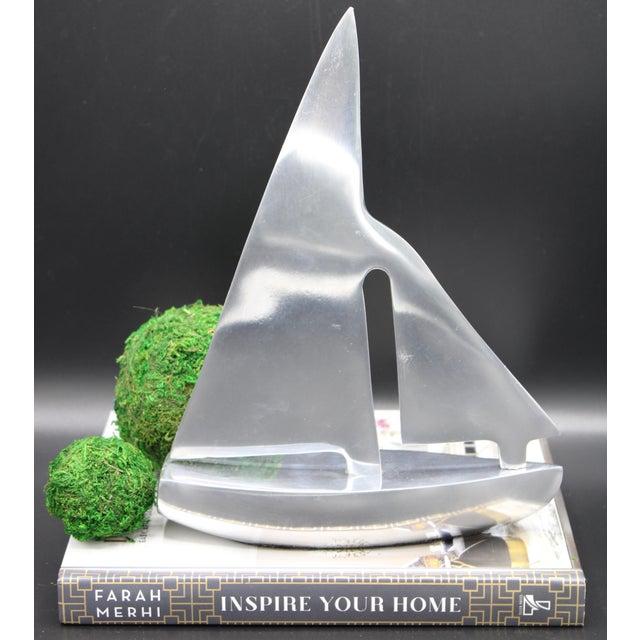 Mid-Century Chrome Stylized Sailboat Model For Sale - Image 4 of 11