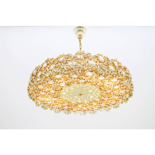 Large Gilded Brass and Crystal Glass Chandelier by Palwa, Germany 1960s For Sale - Image 11 of 11