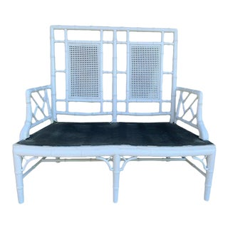 Mid Century Faux Bamboo Caned Settee Mid Century Faux Bamboo Chinoiserie White Settee For Sale