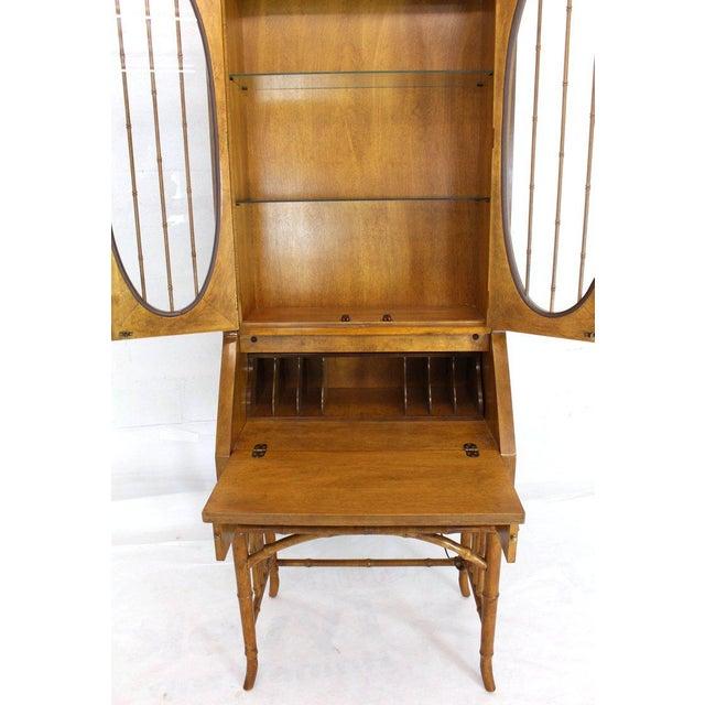 1970s Mid-Century Modern Faux Bamboo Rattan Light Fruitwood Finish Secretary Desk For Sale - Image 6 of 14