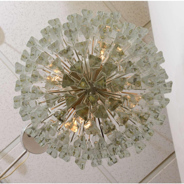 Chrome 1960s Mid-Century Modern Lush Camer Glass Chandelier For Sale - Image 7 of 11