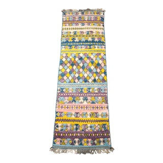 Multi-Color Pastel Moroccan Wool Runner For Sale
