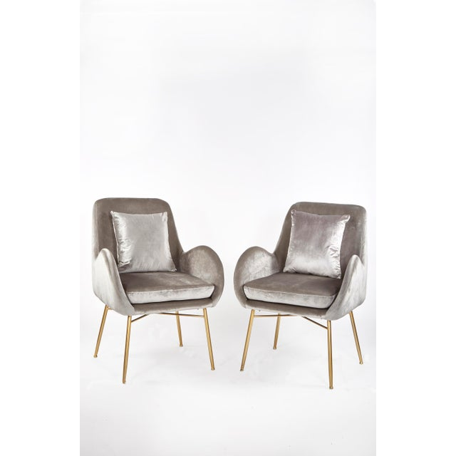 Contemporary New Modern Gray Velvet Armchair With Gold Legs and Pillows - a Pair For Sale - Image 3 of 11