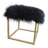 Image of Moss Studios Black Mongolian Fur Ottoman For Sale