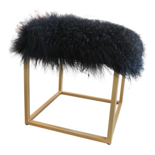 Moss Studios Black Mongolian Fur Ottoman For Sale